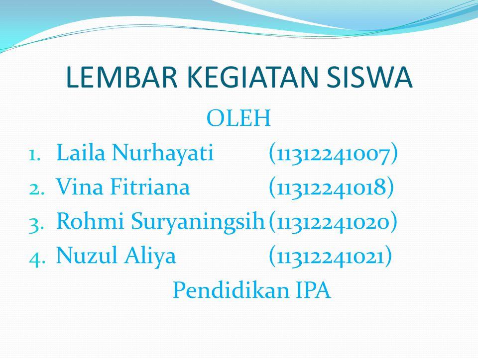 LEMBAR KEGIATAN SISWA OLEH Laila Nurhayati (11312241007)