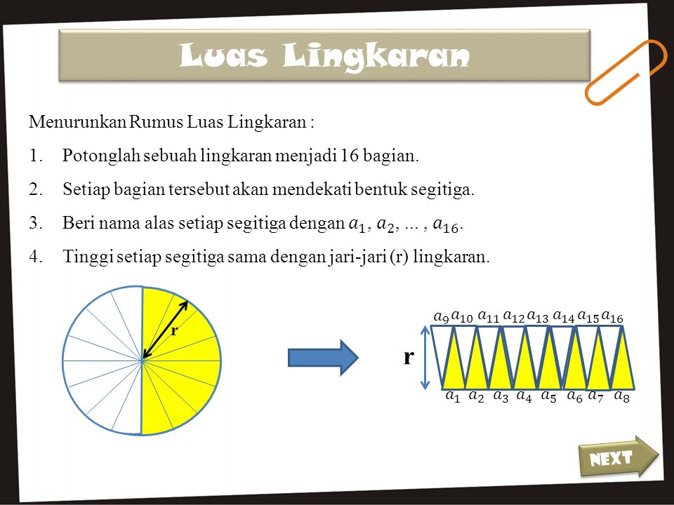 Luas Lingkaran r Menurunkan Rumus Luas Lingkaran :