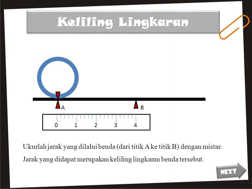 Keliling Lingkaran A. B. 1. 2. 3. 4. Ukurlah jarak yang dilalui benda (dari titik A ke titik B) dengan mistar.