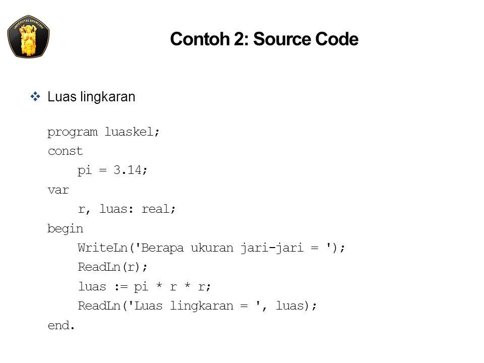 Contoh 2: Source Code Luas lingkaran program luaskel; const pi = 3.14;