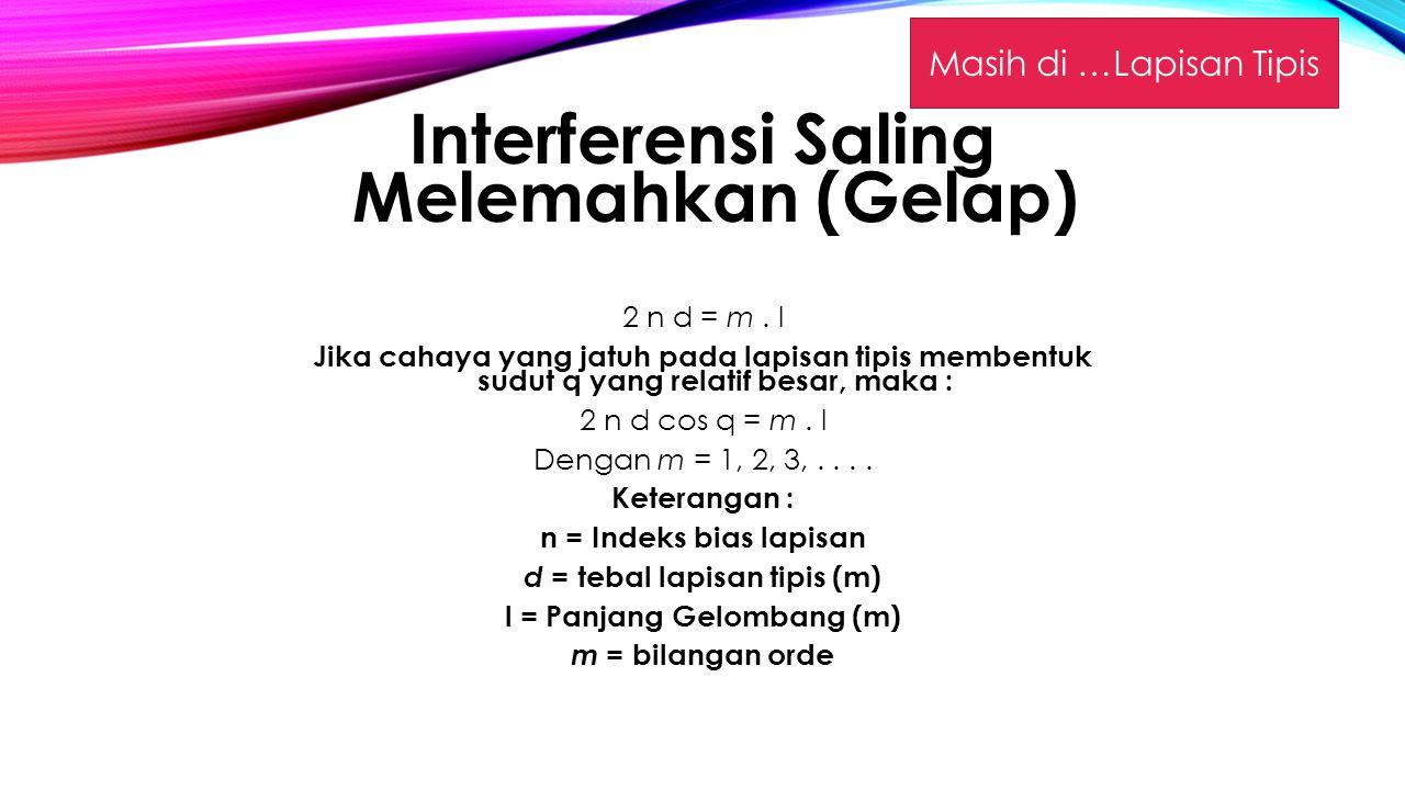 Interferensi Saling Melemahkan (Gelap)
