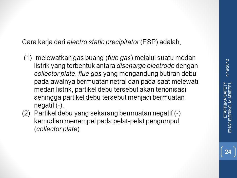 Cara kerja dari electro static precipitator (ESP) adalah,