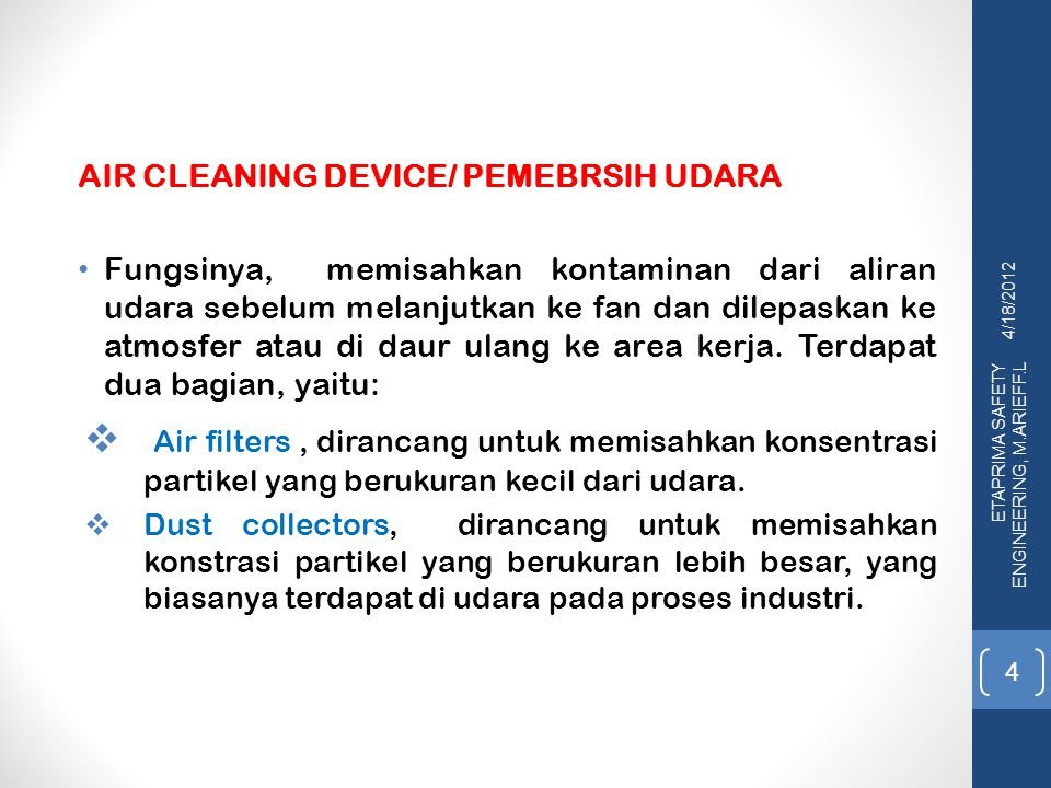 AIR CLEANING DEVICE/ PEMEBRSIH UDARA