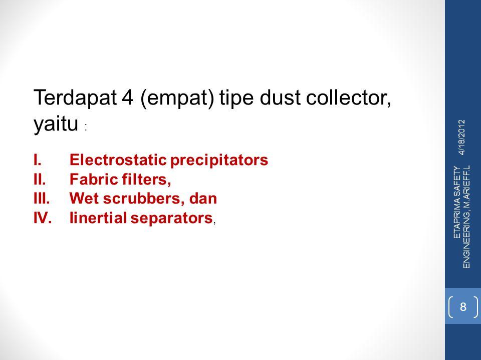 Terdapat 4 (empat) tipe dust collector, yaitu :