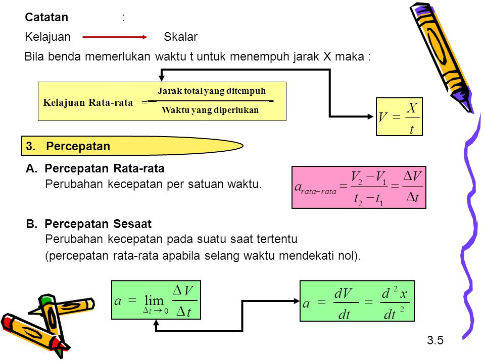 t X V = t V a D = - t V a D = lim dt x d dV a = Catatan :
