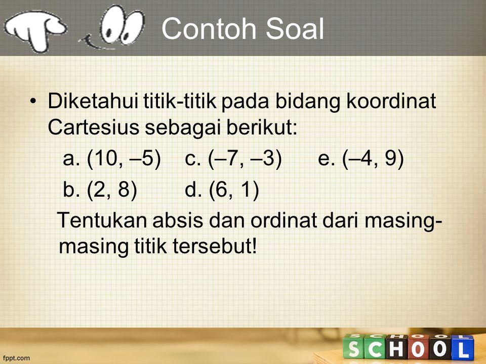 Contoh Soal Diketahui titik-titik pada bidang koordinat Cartesius sebagai berikut: a. (10, –5) c. (–7, –3) e. (–4, 9)