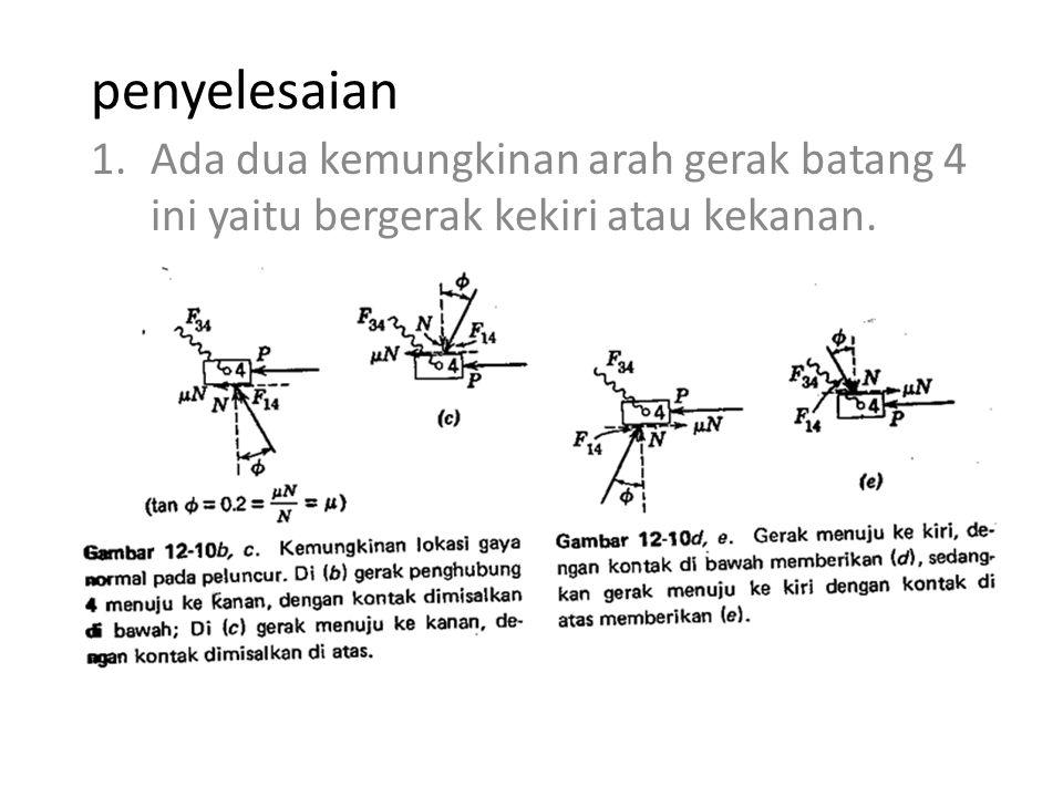 penyelesaian Ada dua kemungkinan arah gerak batang 4 ini yaitu bergerak kekiri atau kekanan.