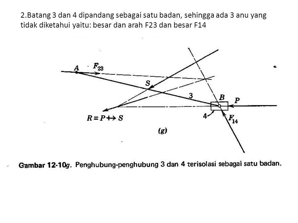 2.Batang 3 dan 4 dipandang sebagai satu badan, sehingga ada 3 anu yang tidak diketahui yaitu: besar dan arah F23 dan besar F14