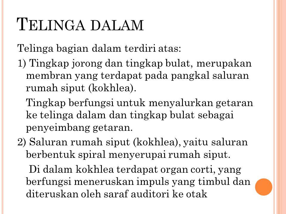 Telinga dalam Telinga bagian dalam terdiri atas: