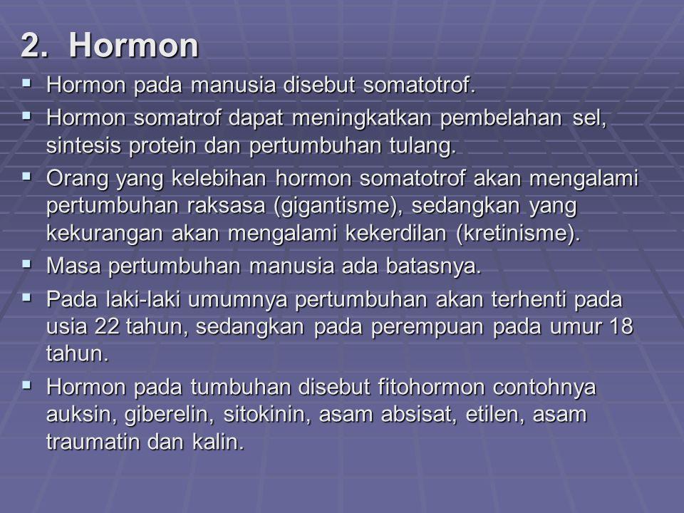 2. Hormon Hormon pada manusia disebut somatotrof.