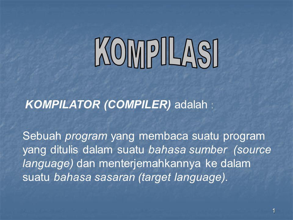 KOMPILASI KOMPILATOR (COMPILER) adalah :