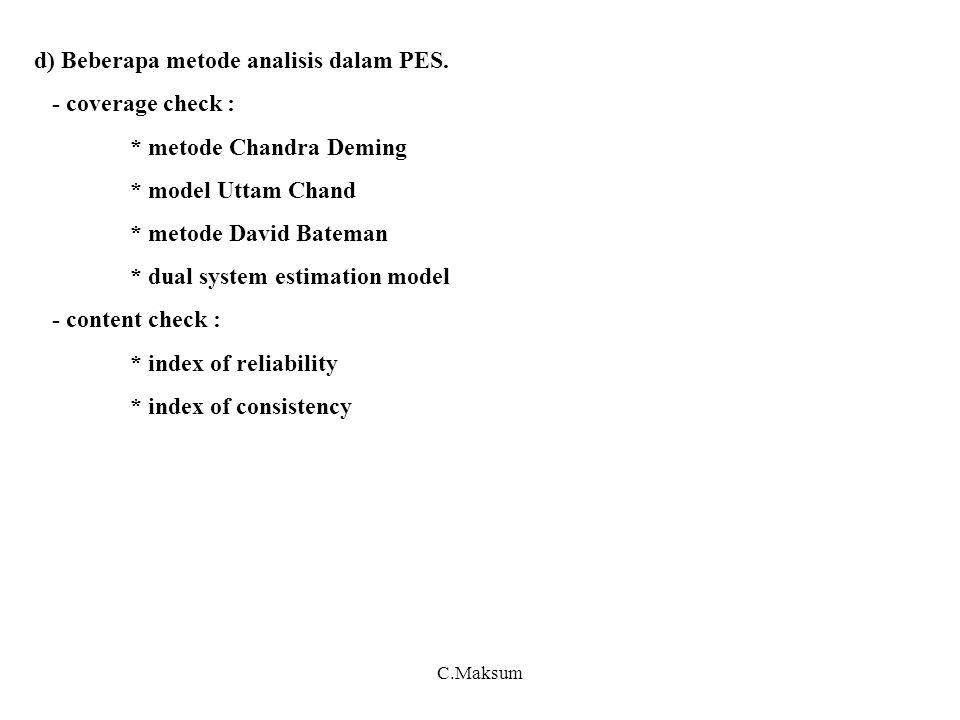 d) Beberapa metode analisis dalam PES. - coverage check :