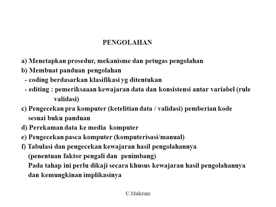 a) Menetapkan prosedur, mekanisme dan petugas pengolahan