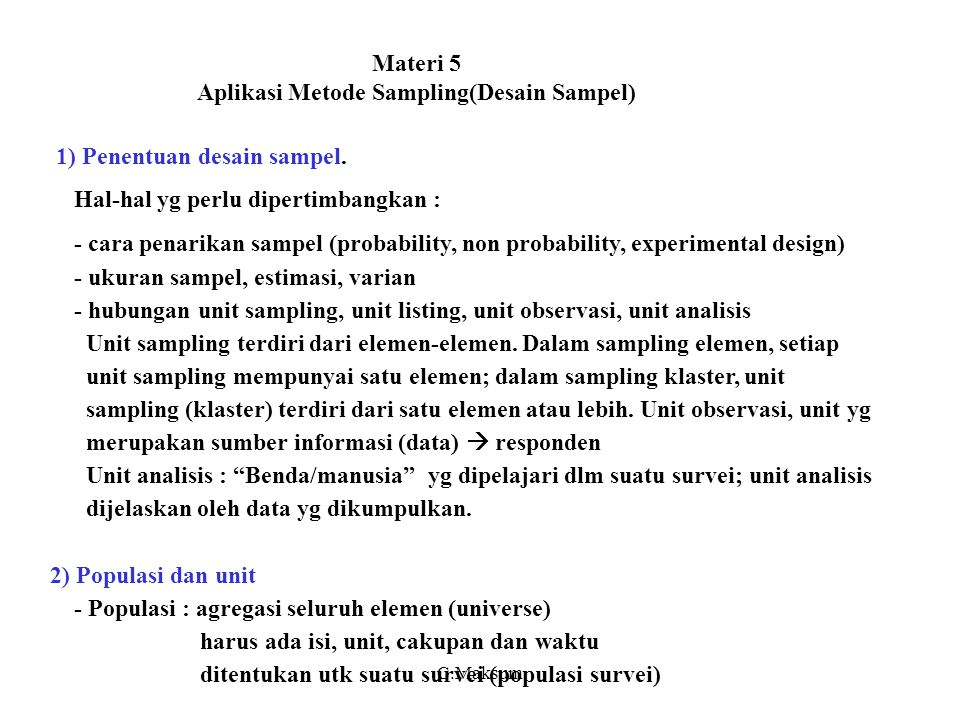 Materi 5 Aplikasi Metode Sampling(Desain Sampel)