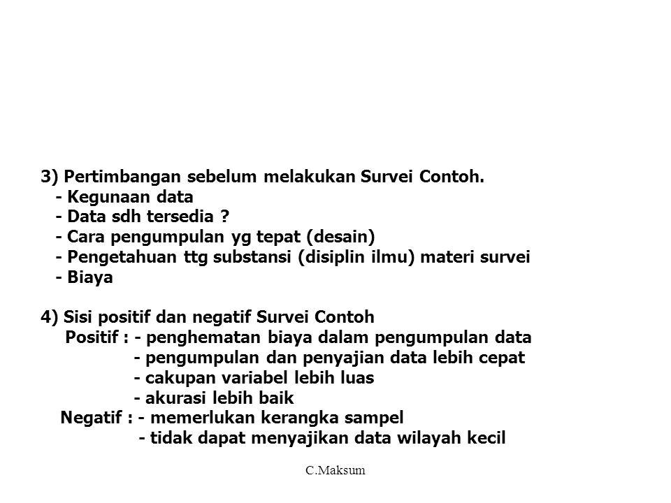 3) Pertimbangan sebelum melakukan Survei Contoh. - Kegunaan data