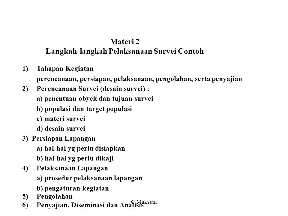 Materi 2 Langkah-langkah Pelaksanaan Survei Contoh