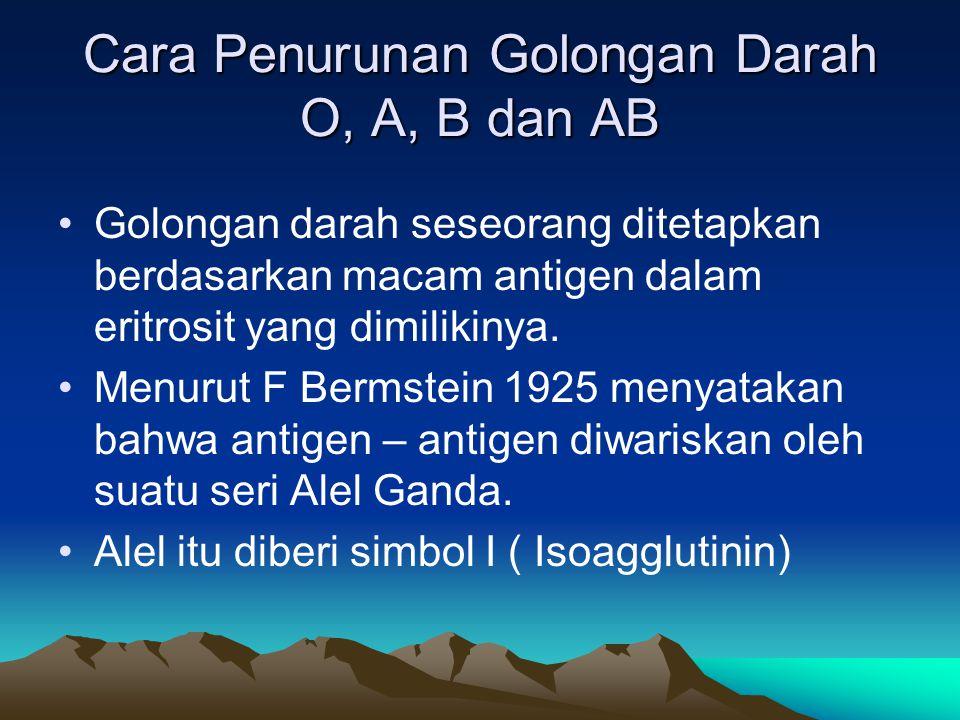 Cara Penurunan Golongan Darah O, A, B dan AB