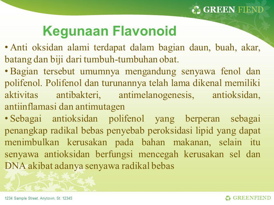 Kegunaan Flavonoid Anti oksidan alami terdapat dalam bagian daun, buah, akar, batang dan biji dari tumbuh-tumbuhan obat.