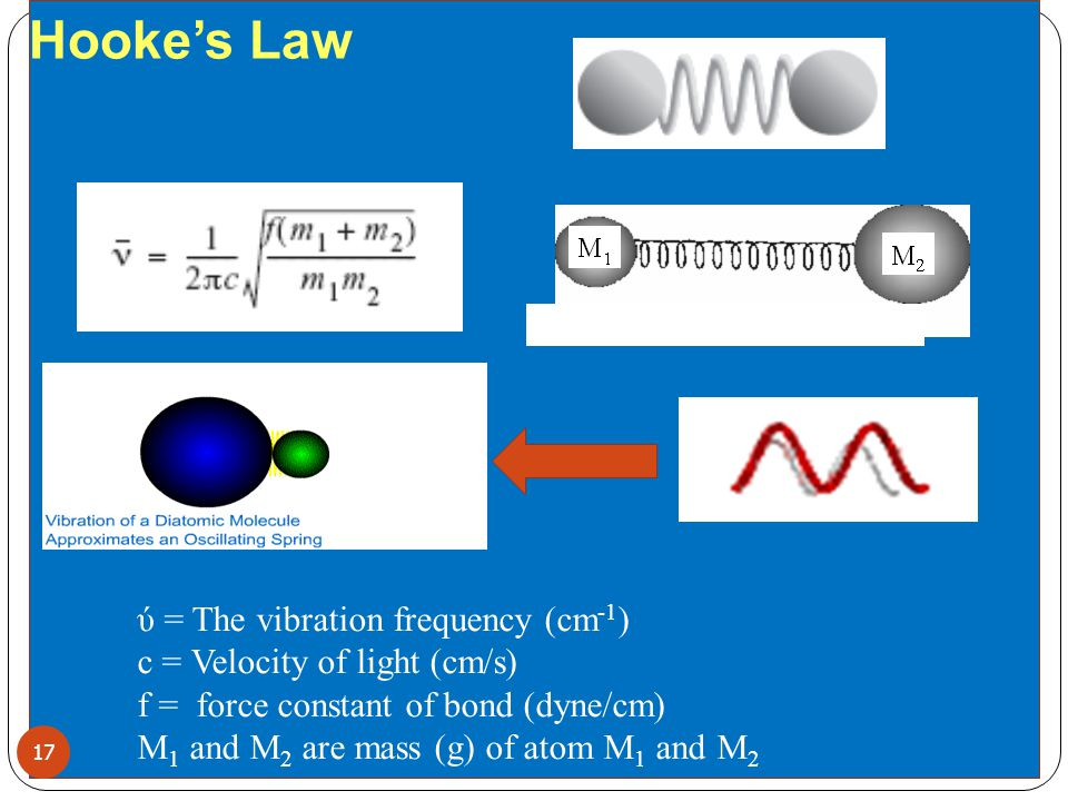 Hooke's Law ύ = The vibration frequency (cm-1)