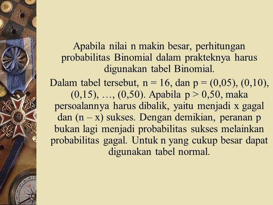 Apabila nilai n makin besar, perhitungan probabilitas Binomial dalam prakteknya harus digunakan tabel Binomial.