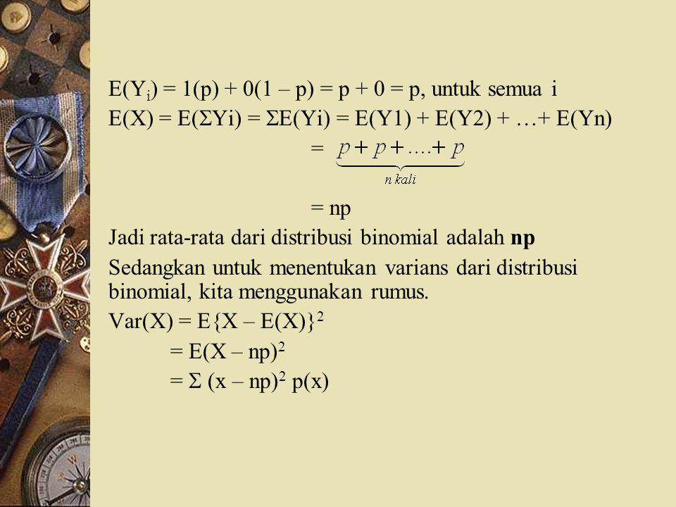 E(Yi) = 1(p) + 0(1 – p) = p + 0 = p, untuk semua i