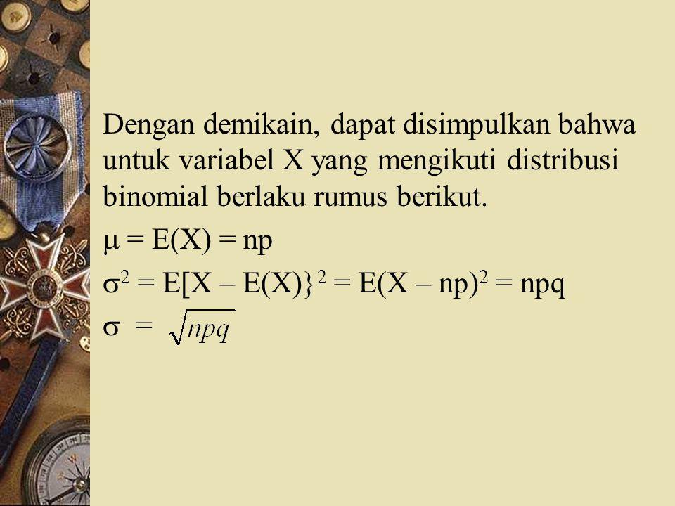 Dengan demikain, dapat disimpulkan bahwa untuk variabel X yang mengikuti distribusi binomial berlaku rumus berikut.