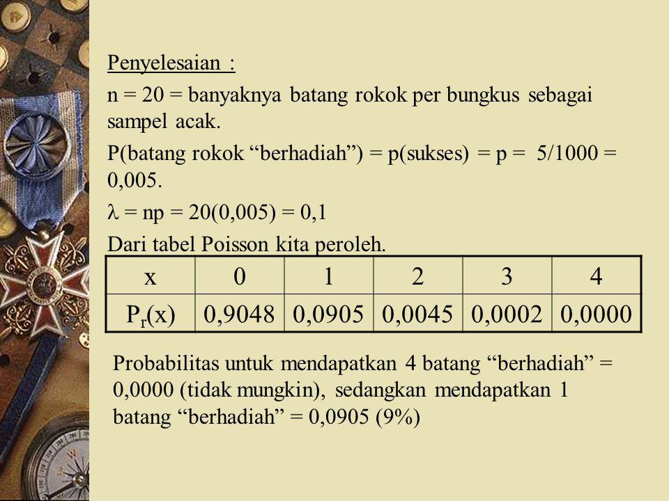 Penyelesaian : n = 20 = banyaknya batang rokok per bungkus sebagai sampel acak. P(batang rokok berhadiah ) = p(sukses) = p = 5/1000 = 0,005.