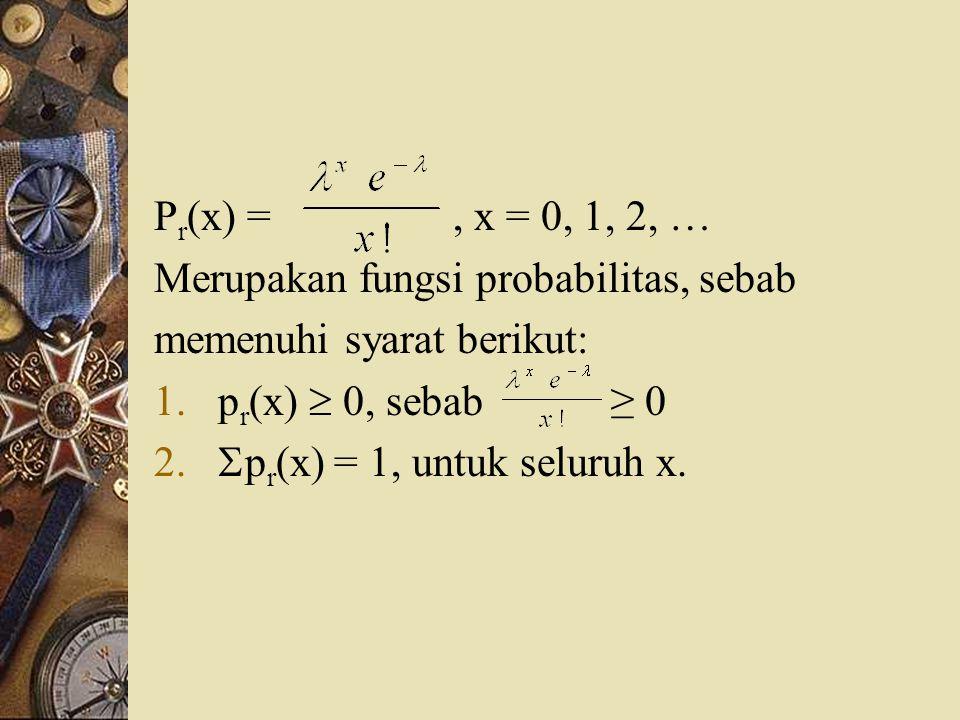 Pr(x) = , x = 0, 1, 2, … Merupakan fungsi probabilitas, sebab. memenuhi syarat berikut: