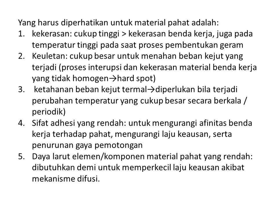 Yang harus diperhatikan untuk material pahat adalah: