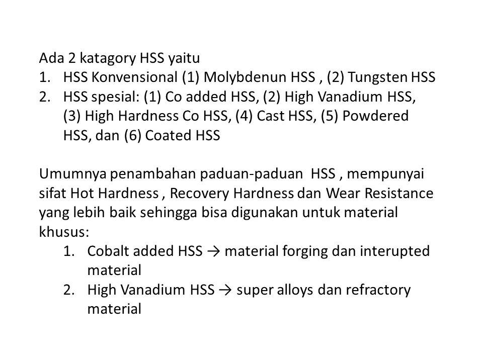 Ada 2 katagory HSS yaitu HSS Konvensional (1) Molybdenun HSS , (2) Tungsten HSS.