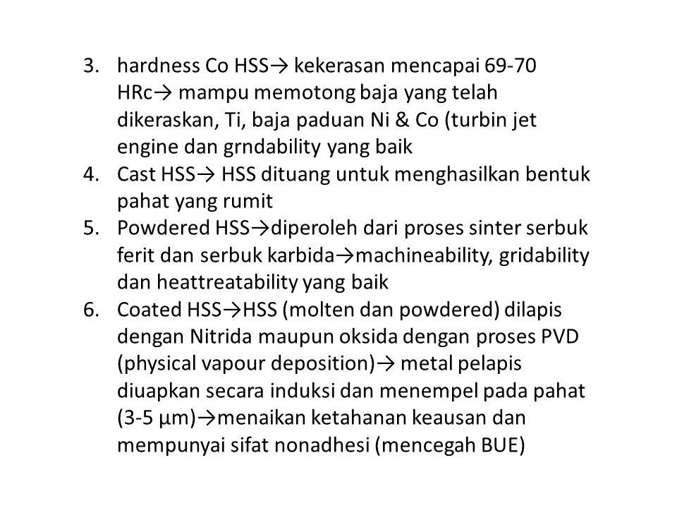 hardness Co HSS→ kekerasan mencapai 69-70 HRc→ mampu memotong baja yang telah dikeraskan, Ti, baja paduan Ni & Co (turbin jet engine dan grndability yang baik
