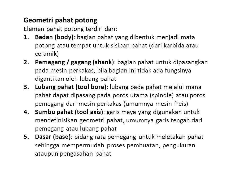 Geometri pahat potong Elemen pahat potong terdiri dari: