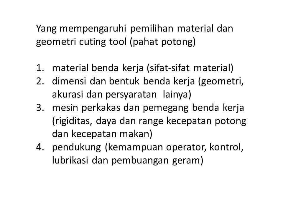 Yang mempengaruhi pemilihan material dan geometri cuting tool (pahat potong)
