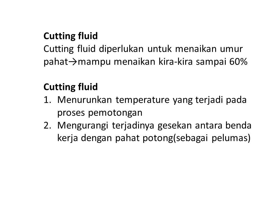 Cutting fluid Cutting fluid diperlukan untuk menaikan umur pahat→mampu menaikan kira-kira sampai 60%