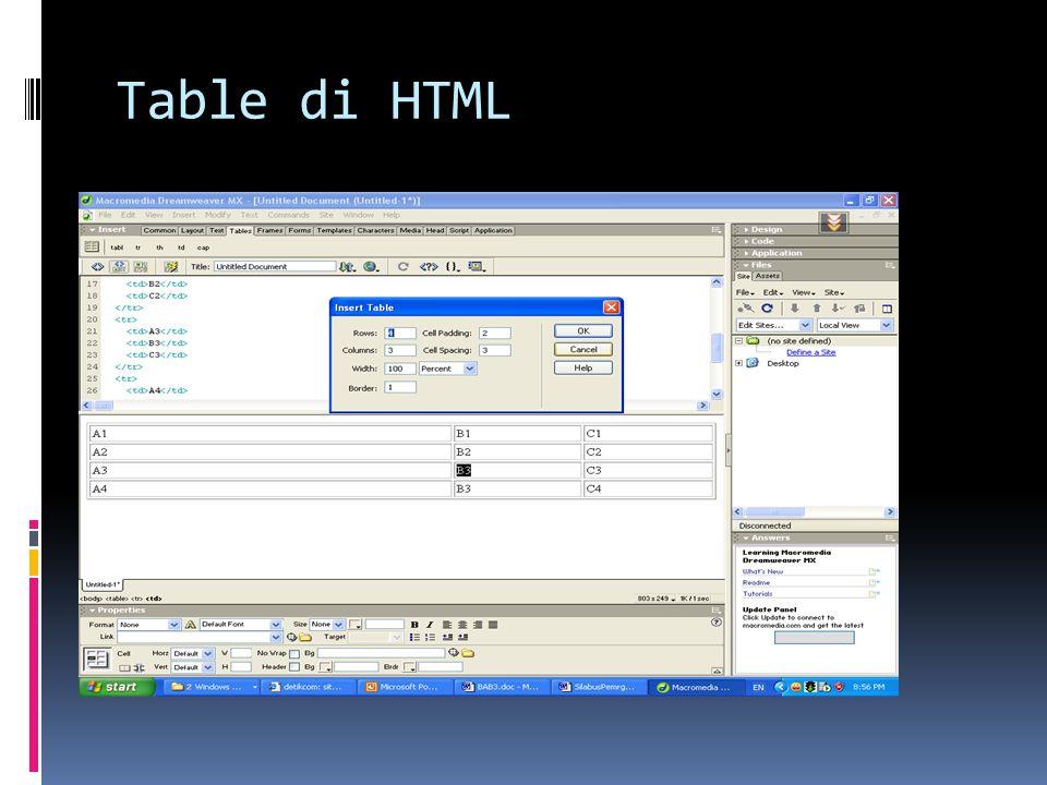 Table di HTML