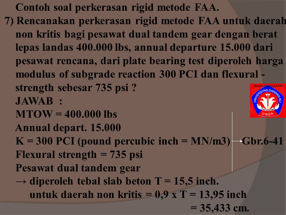 Contoh soal perkerasan rigid metode FAA.