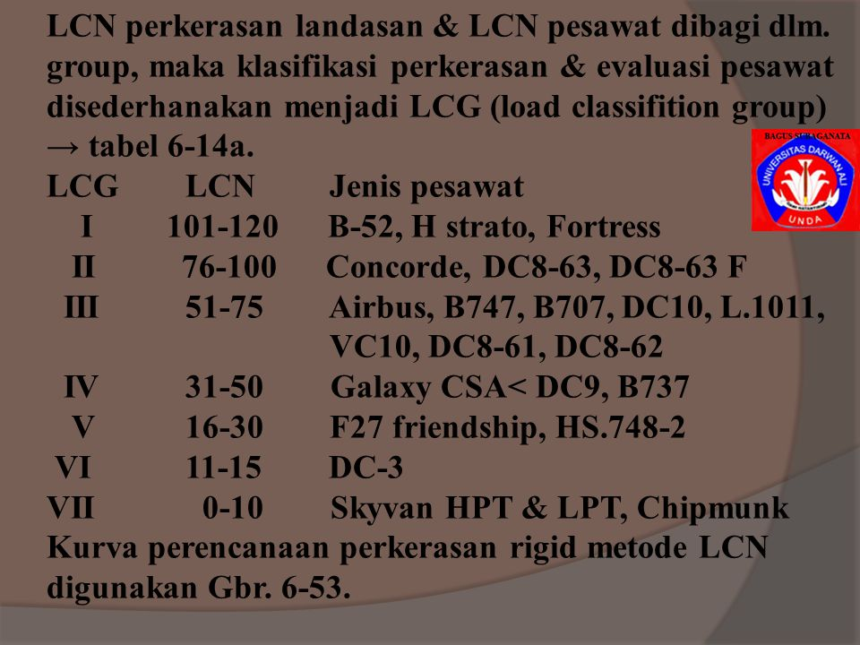 LCN perkerasan landasan & LCN pesawat dibagi dlm.