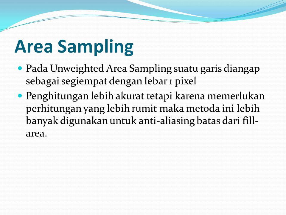 Area Sampling Pada Unweighted Area Sampling suatu garis diangap sebagai segiempat dengan lebar 1 pixel.