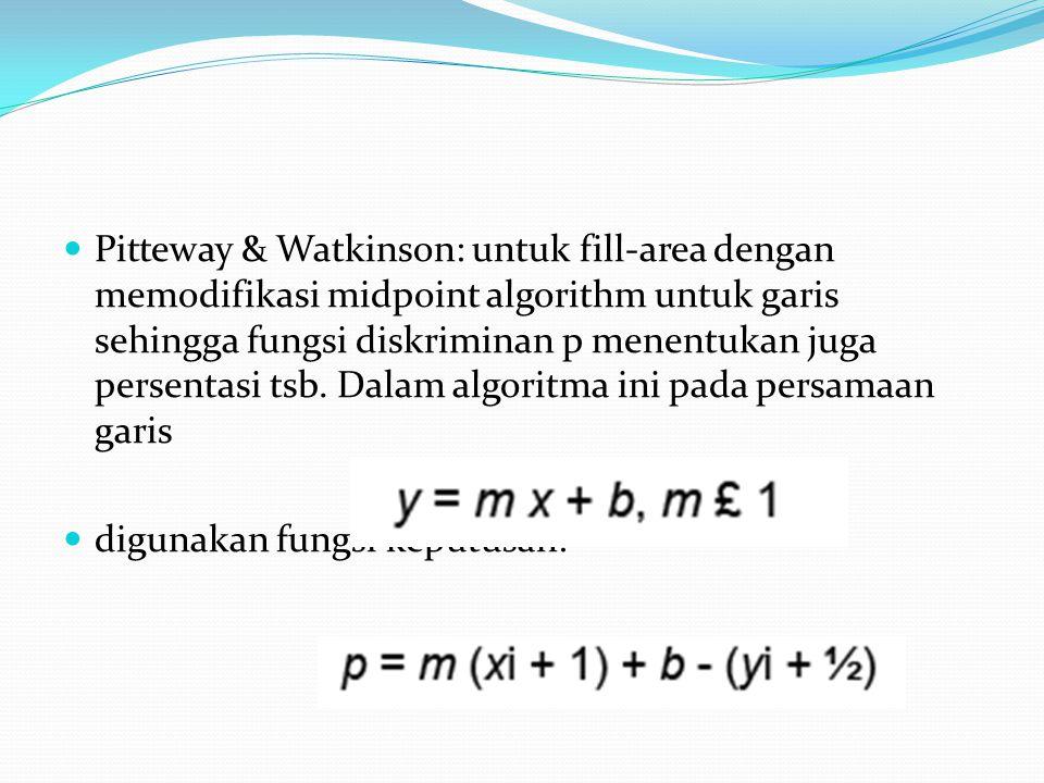 Pitteway & Watkinson: untuk fill-area dengan memodifikasi midpoint algorithm untuk garis sehingga fungsi diskriminan p menentukan juga persentasi tsb. Dalam algoritma ini pada persamaan garis