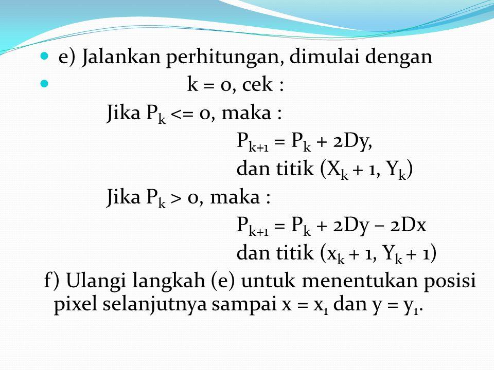 e) Jalankan perhitungan, dimulai dengan