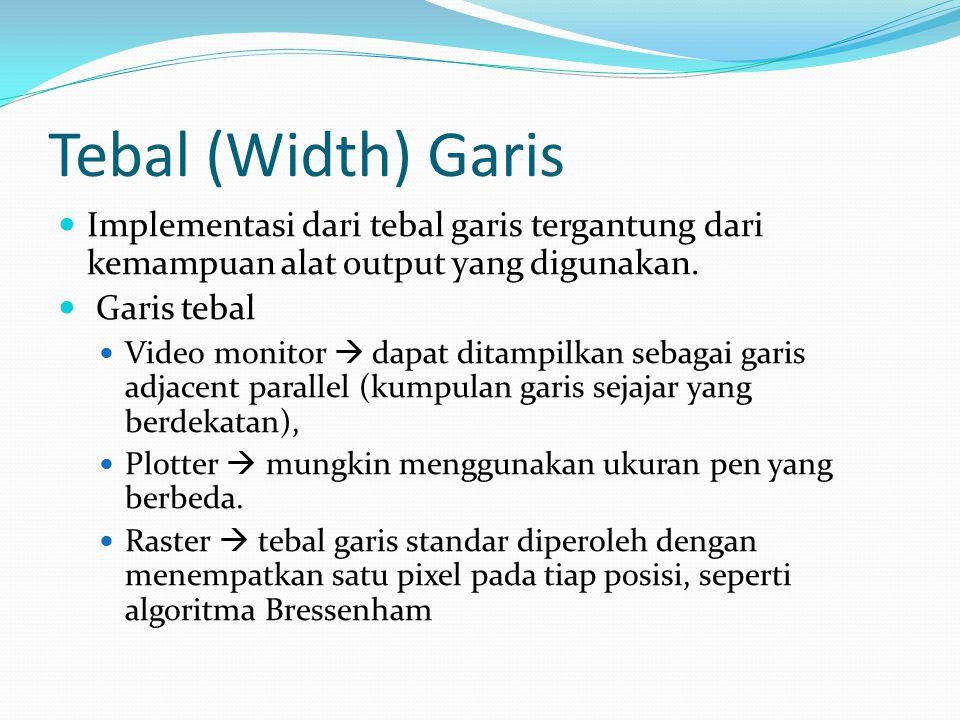 Tebal (Width) Garis Implementasi dari tebal garis tergantung dari kemampuan alat output yang digunakan.
