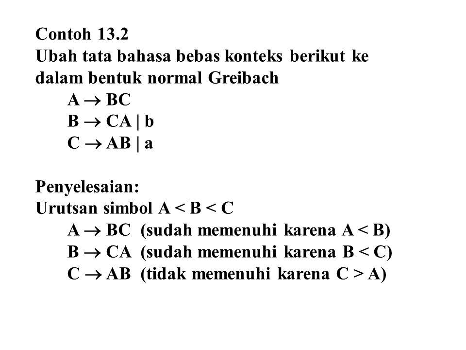 Contoh 13.2 Ubah tata bahasa bebas konteks berikut ke dalam bentuk normal Greibach. A  BC. B  CA | b.