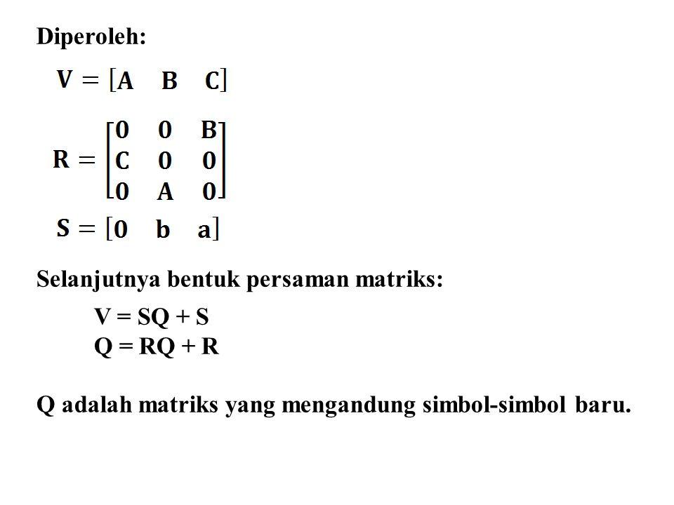 Diperoleh: Selanjutnya bentuk persaman matriks: V = SQ + S.