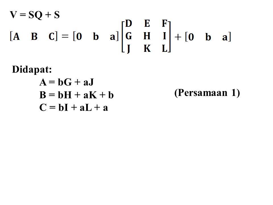 V = SQ + S Didapat: A = bG + aJ B = bH + aK + b C = bI + aL + a (Persamaan 1)