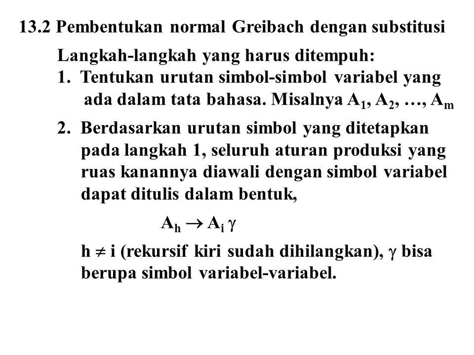 13.2 Pembentukan normal Greibach dengan substitusi