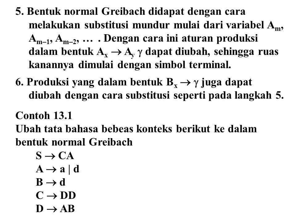 5. Bentuk normal Greibach didapat dengan cara melakukan substitusi mundur mulai dari variabel Am, Am–1, Am–2, … . Dengan cara ini aturan produksi dalam bentuk Ax  Ay  dapat diubah, sehingga ruas kanannya dimulai dengan simbol terminal.
