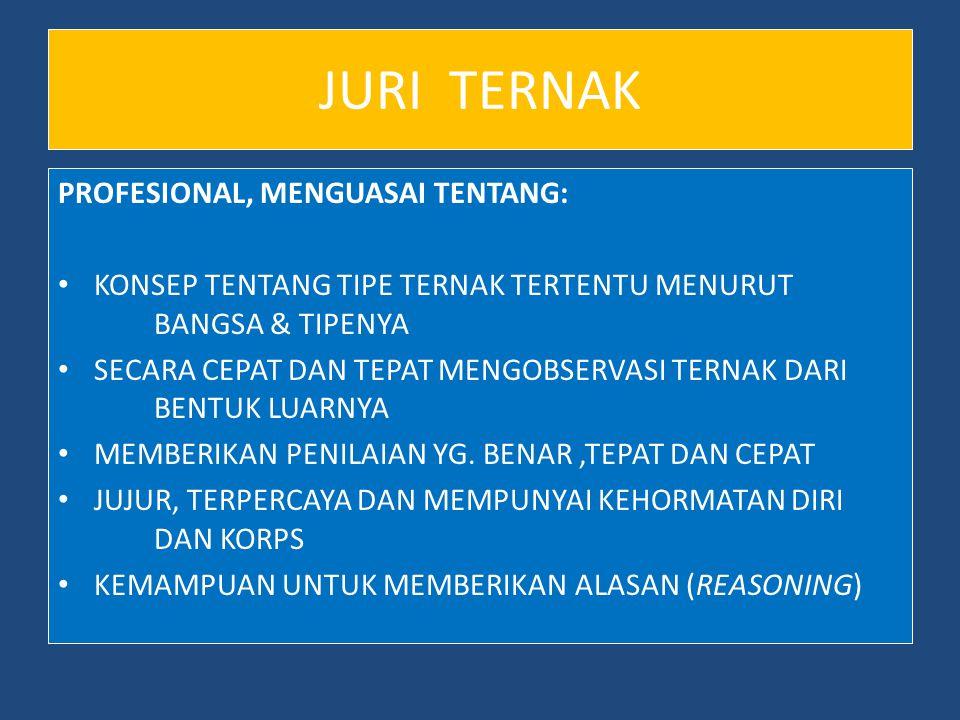 JURI TERNAK PROFESIONAL, MENGUASAI TENTANG: