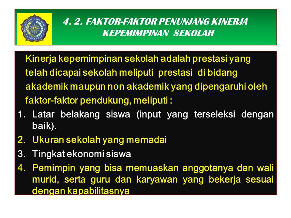 4. 2. FAKTOR-FAKTOR PENUNJANG KINERJA KEPEMIMPINAN SEKOLAH