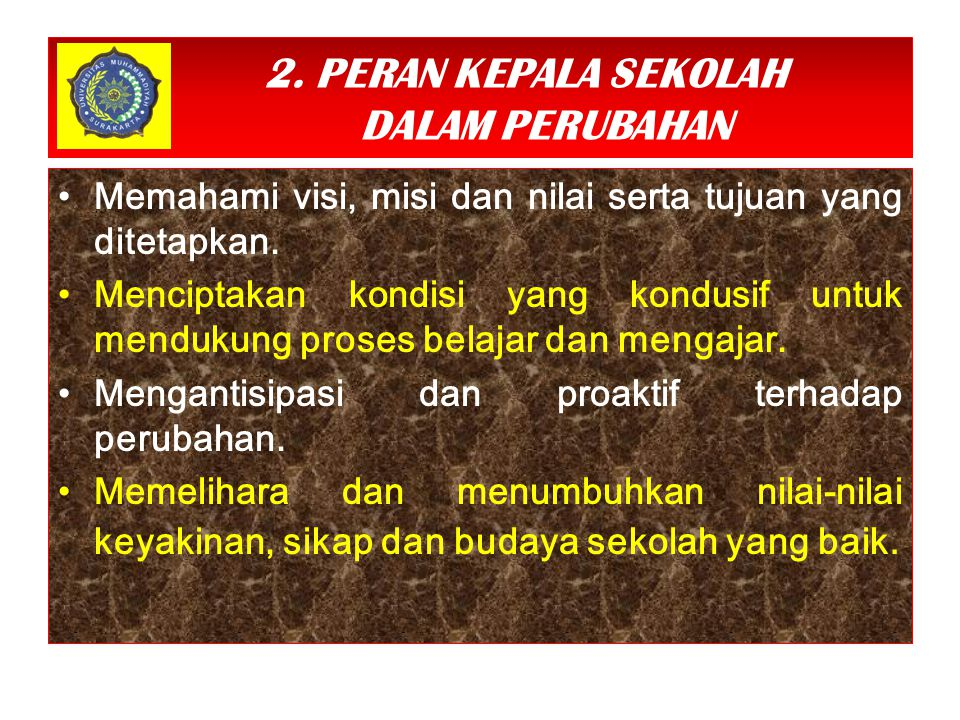 2. PERAN KEPALA SEKOLAH DALAM PERUBAHAN