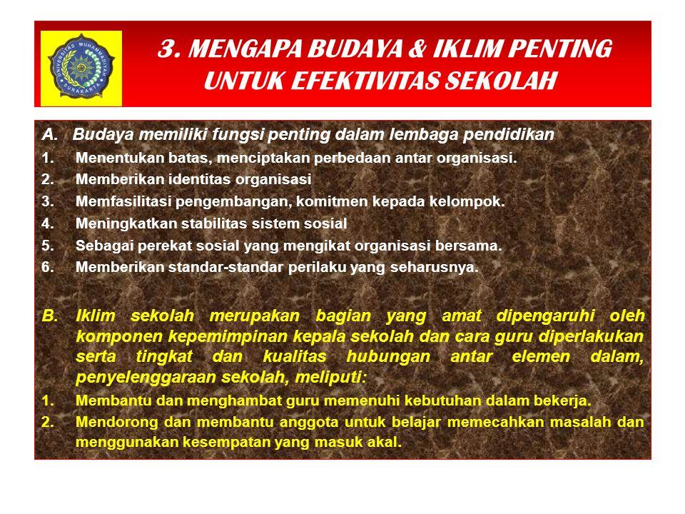 3. MENGAPA BUDAYA & IKLIM PENTING UNTUK EFEKTIVITAS SEKOLAH